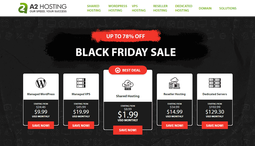 A2 Hosting Black Friday & Cyber Monday Sale 2020